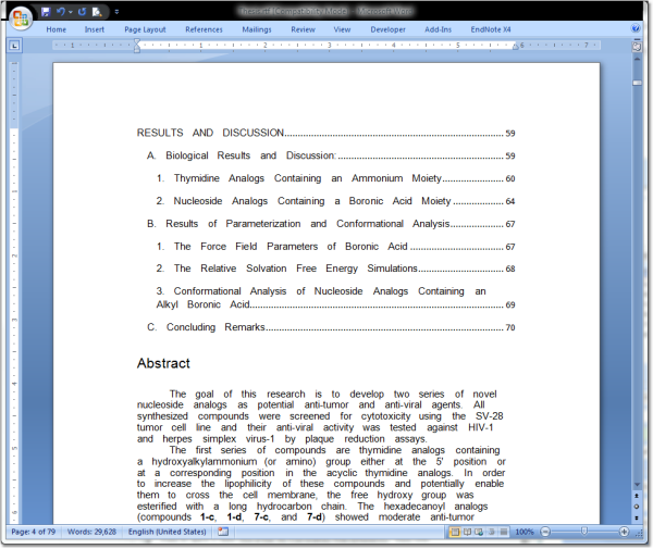 thesis table of contents word